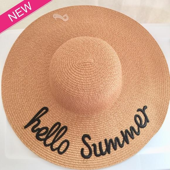 f75dc35cdb5 Hello Summer Floppy Black Embroidered Straw Hat